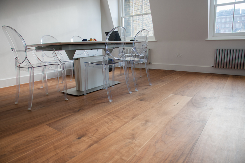 American wide Walnut flooring with clear hard wax oil finish