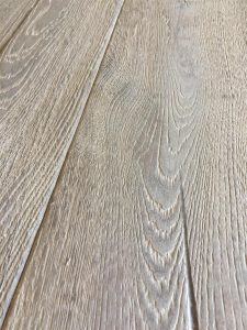 Dark grey Oak boards, heavily brushed, fumed and oiled engineered flooring