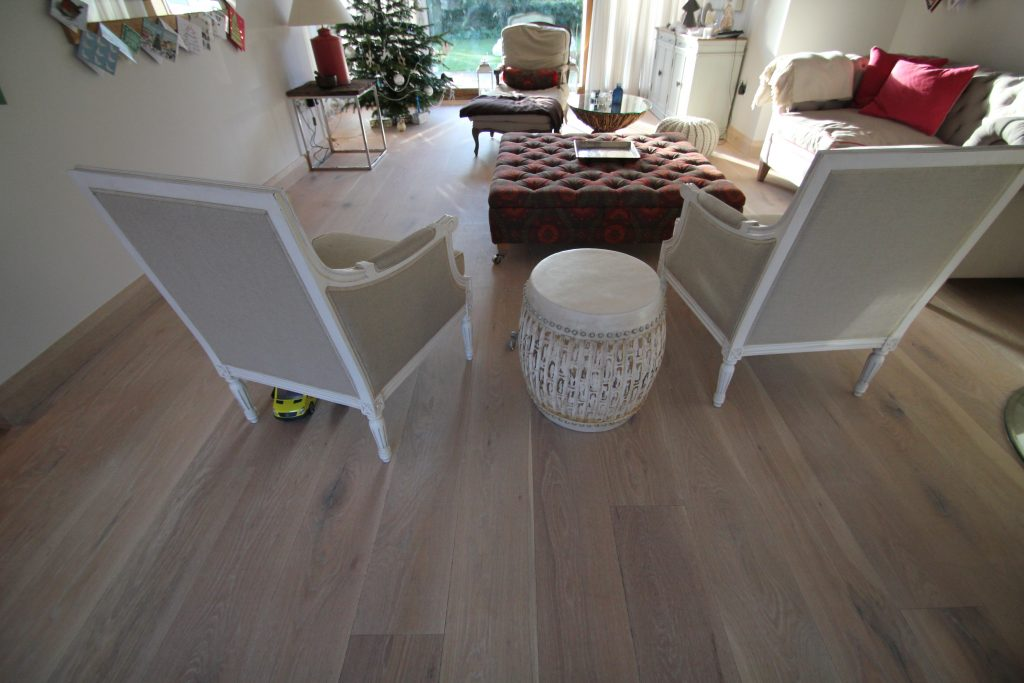 Engineered limed Oak flooring with whitewashed oil finish