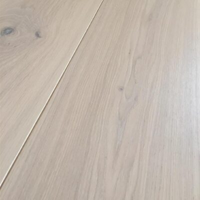 Engineered wood flooring. Limed Oak with whitewash lacquer finish.