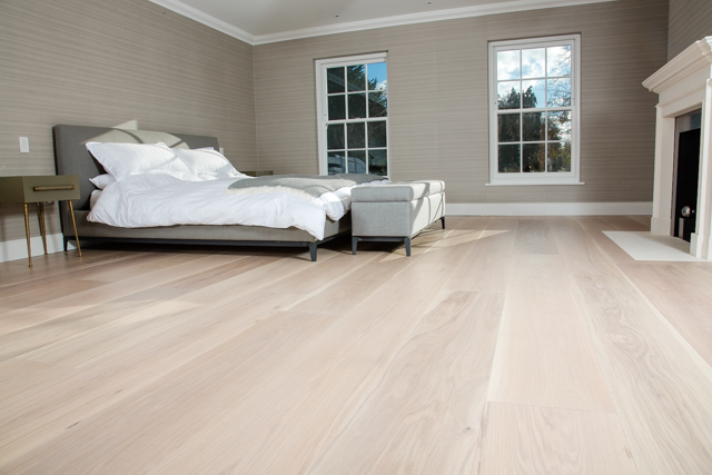 American Oak flooring with whitewash lacquer finish