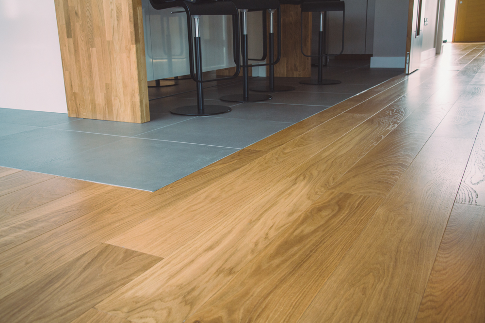 Classic French engineered prime Oak flooring with hard wax oil in kitchen
