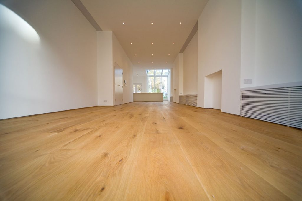 Wide American Oak engineered flooring with hard wax oil finish.