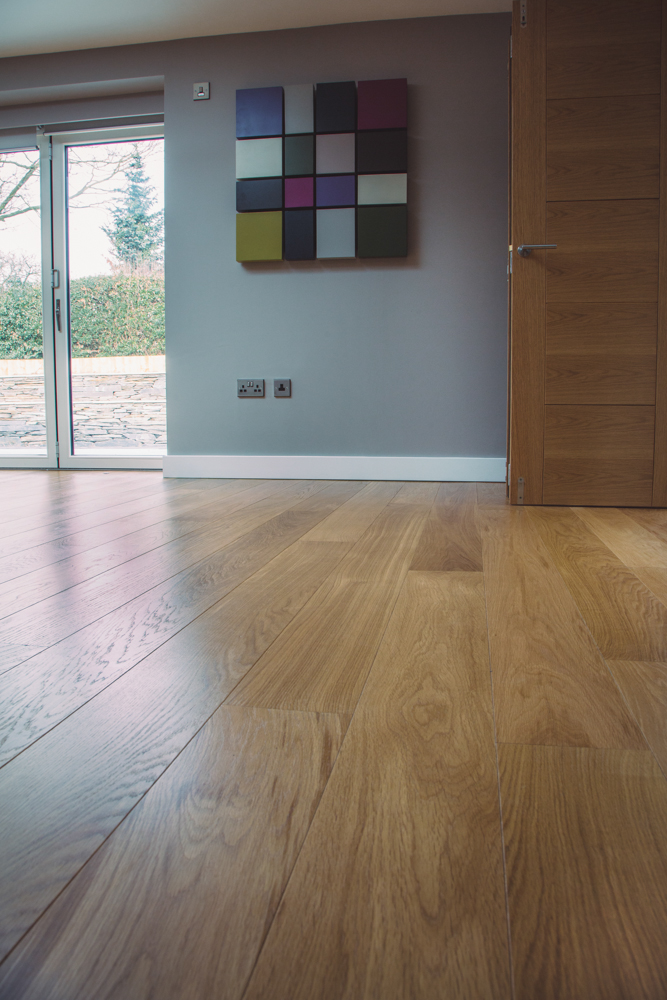 Classic French engineered prime Oak flooring with hard wax oil in living room
